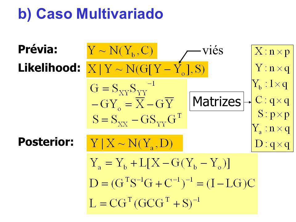 Prévia: Likelihood: Posterior: b) Caso Multivariado viés Matrizes