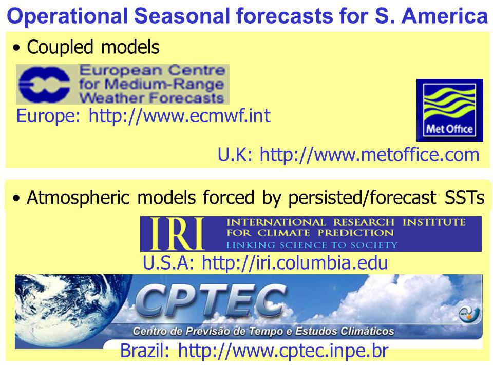 Operational Seasonal forecasts for S. America Coupled models U.S.A: http://iri.columbia.edu Atmospheric models forced by persisted/forecast SSTs Brazi