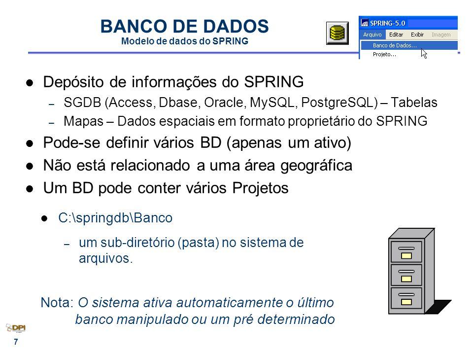 8 MODELO DE DADOS Modelo de dados do SPRING Define os diversos tipos de dados (ou categorias de dados) Agrupa grandezas geográficas semelhantes em um único modelo.