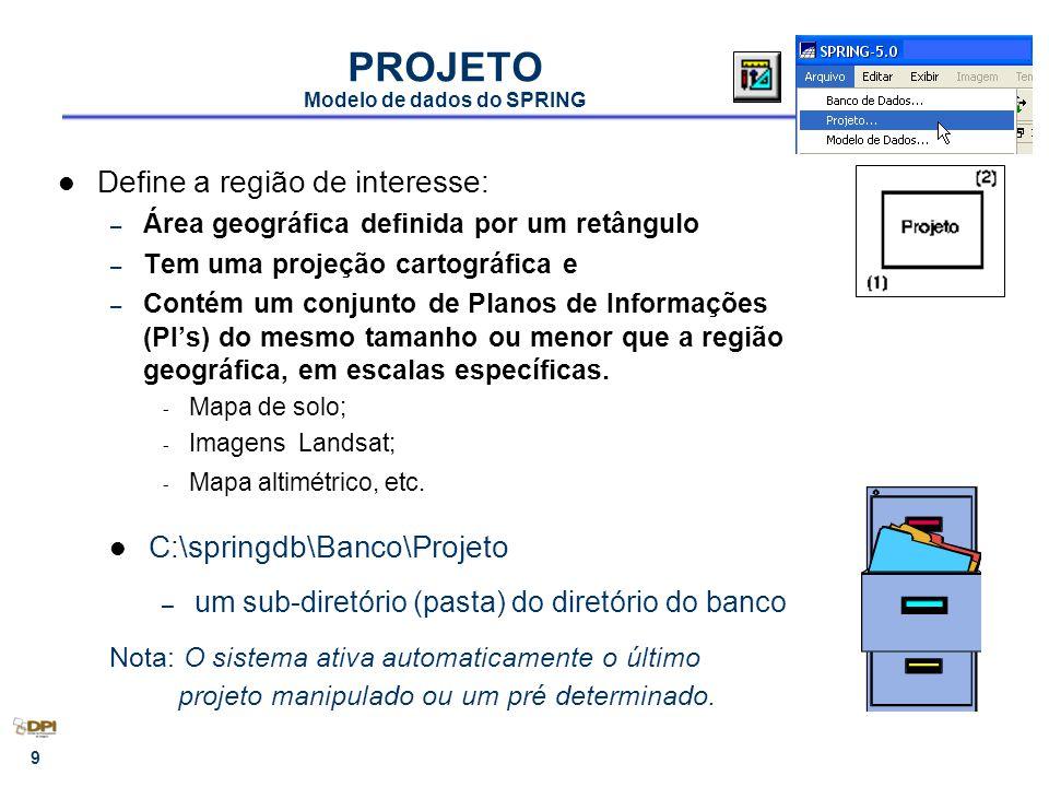 10 PLANO DE INFORMAÇÃO Modelo de dados do SPRING Representa o espaço geográfico com características básicas comuns definidas pela categoria do dado Condição: existência de um Projeto e da Categoria do Dado Cada PI está associado apenas a uma categoria Uma categoria define o tipo de dado de vários PIs Ex: - Mapas de Uso de 1970 e 1980 ( Temático ) - Bandas 3, 4 e 5 do Landsat (Imagem) - Mapa altimétrico (Numérico) - Mapa de fazendas (Cadastral) C:\springdb\Banco\Projeto\PI.lin – corresponde a arquivos debaixo do diretório do projeto * Sempre existirá um PI ativo no Painel de Controle.