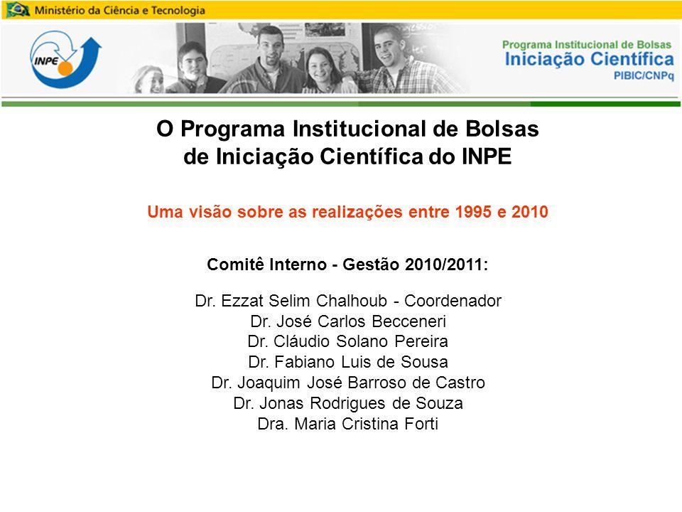 O Programa Institucional de Bolsas de Iniciação Científica do INPE Uma visão sobre as realizações entre 1995 e 2010 Comitê Interno - Gestão 2010/2011: Dr.