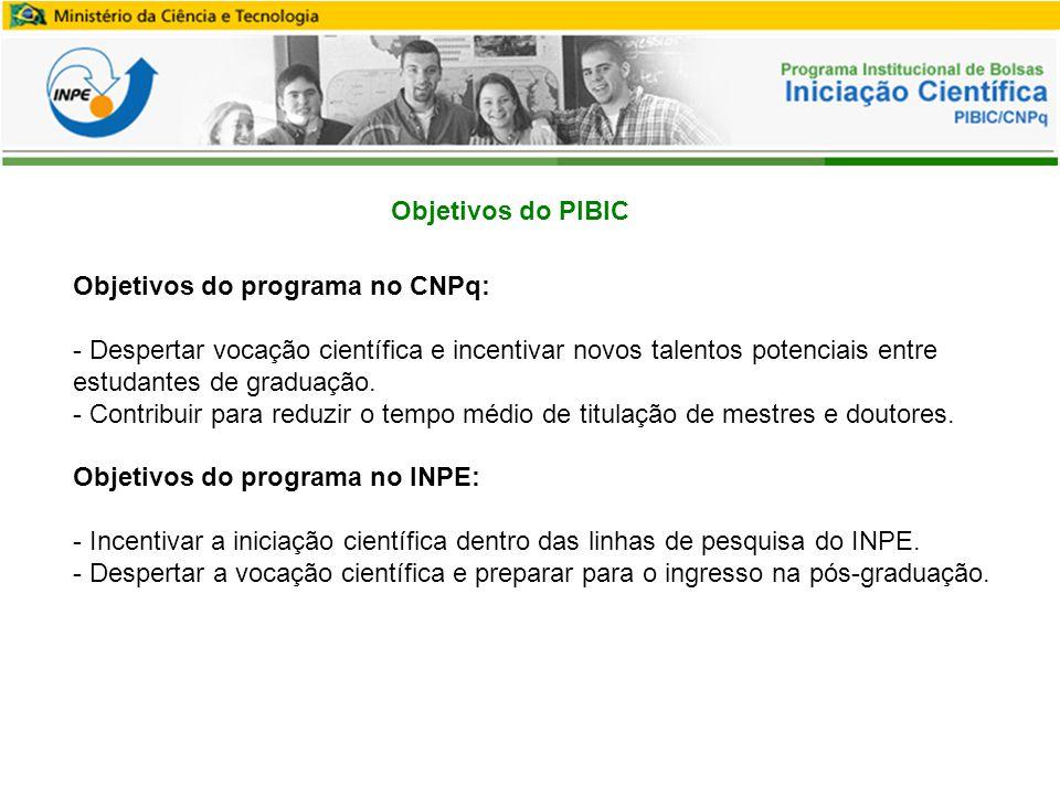 Objetivos do programa no CNPq: - Despertar vocação científica e incentivar novos talentos potenciais entre estudantes de graduação.
