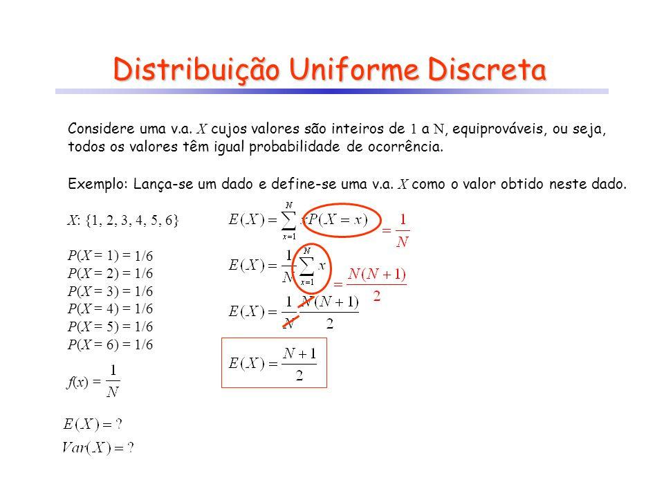 f(x) = ? P(X = 1) = 1/6 P(X = 2) = 1/6 P(X = 3) = 1/6 P(X = 4) = 1/6 P(X = 5) = 1/6 P(X = 6) = 1/6 Distribuição Uniforme Discreta Considere uma v.a. X