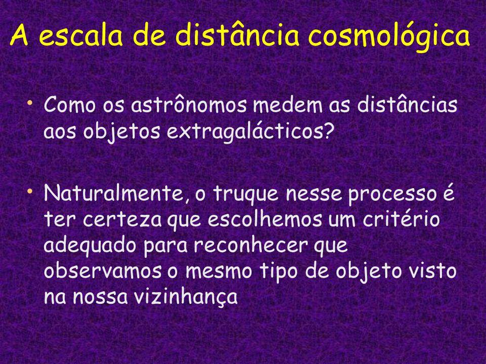 Como os astrônomos medem as distâncias aos objetos extragalácticos? Naturalmente, o truque nesse processo é ter certeza que escolhemos um critério ade