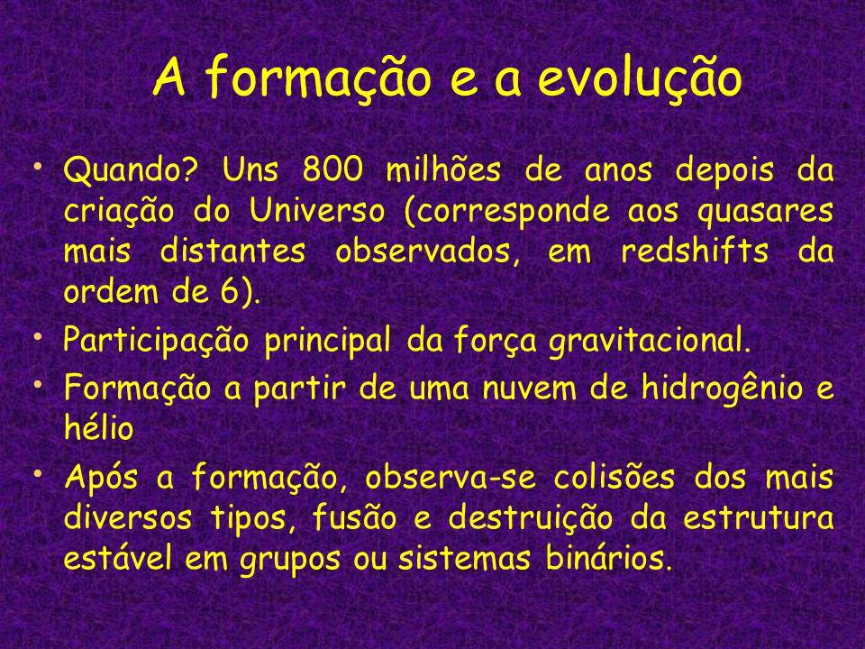 A formação e a evolução Quando? Uns 800 milhões de anos depois da criação do Universo (corresponde aos quasares mais distantes observados, em redshift