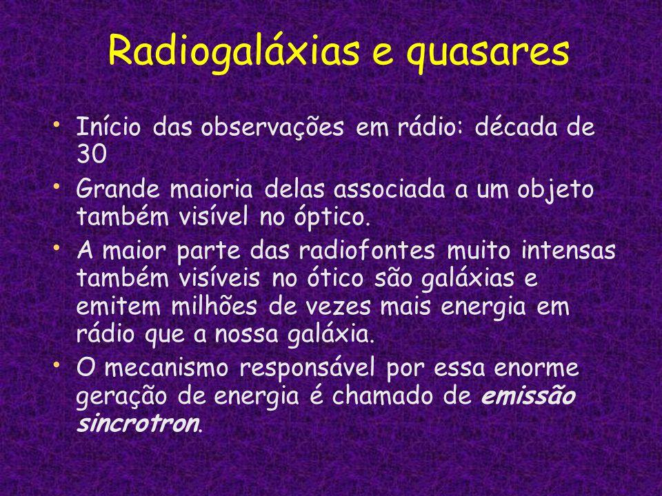 Radiogaláxias e quasares Início das observações em rádio: década de 30 Grande maioria delas associada a um objeto também visível no óptico. A maior pa