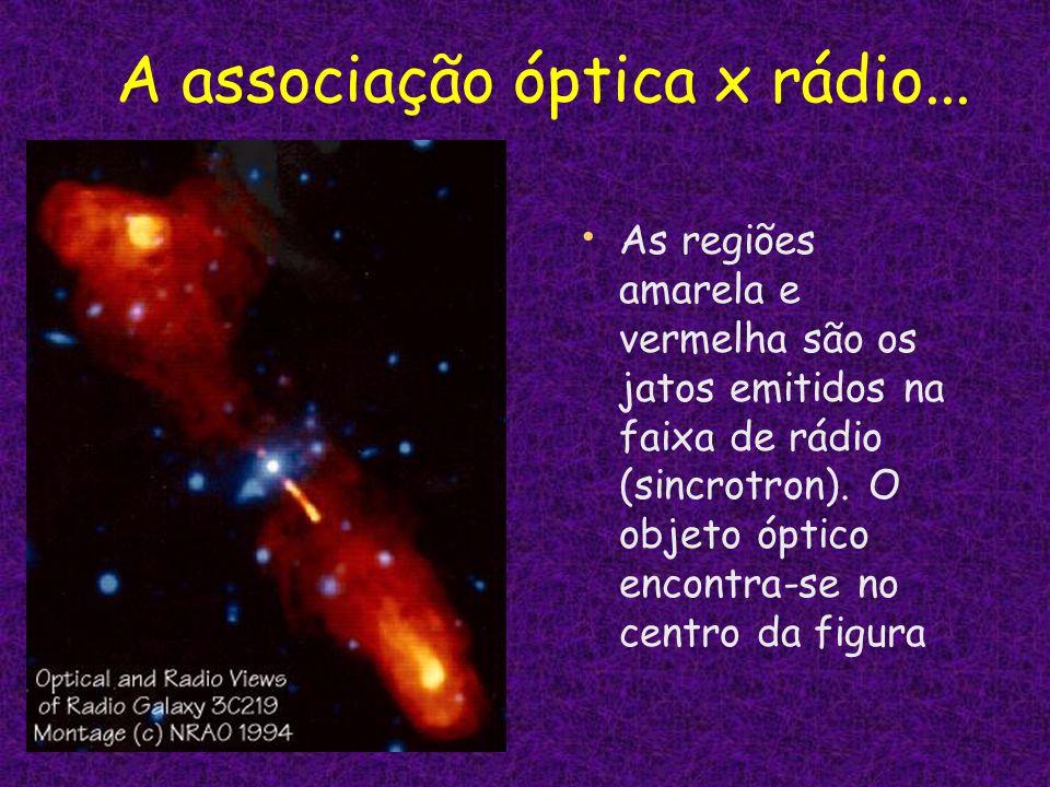 A associação óptica x rádio... As regiões amarela e vermelha são os jatos emitidos na faixa de rádio (sincrotron). O objeto óptico encontra-se no cent