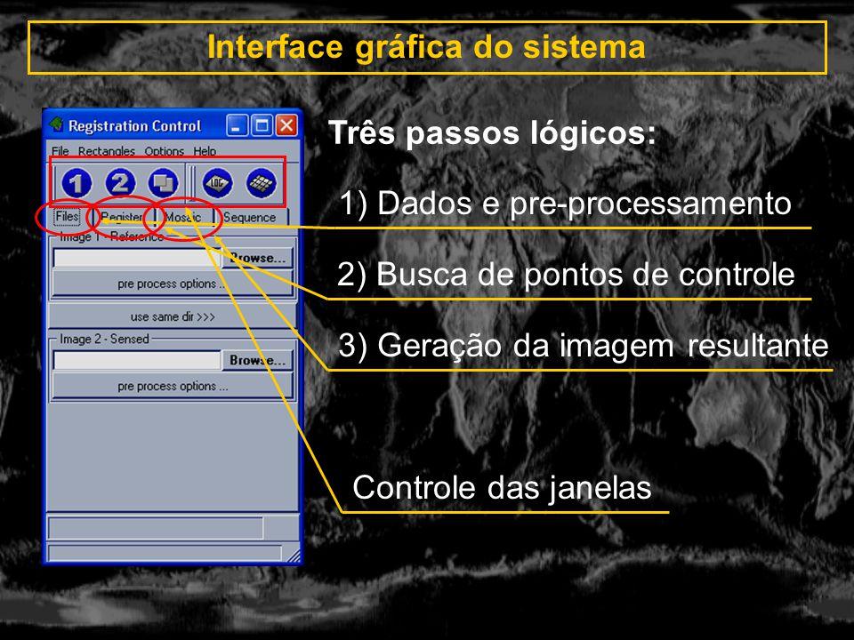 Interface gráfica do sistema 1)Identificação de pontos (auto, semi-auto, manual) 2) Transformação (translação, RST, afim, etc.) 3) Identificar pontos.