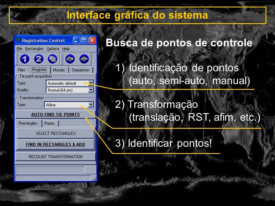 Interface gráfica do sistema 1)Imagem resultado (mosaico, registro separado) 2) Sobreposição (normal, interlaçado, blended) 3) Interpolação (vizinho mais próximo, Bilinear) Geração da imagem resultante 4) Equalização