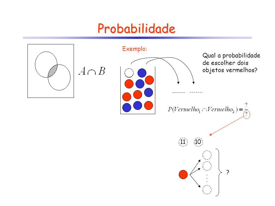 11 10 Probabilidade Exemplo: Qual a probabilidade de escolher dois objetos vermelhos?...... ?