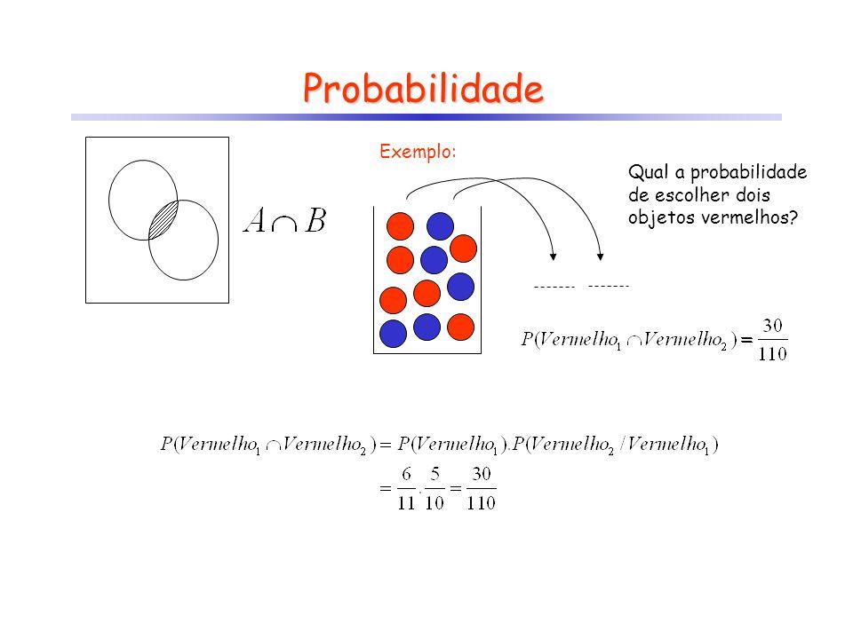Probabilidade Exemplo: Qual a probabilidade de escolher dois objetos vermelhos?