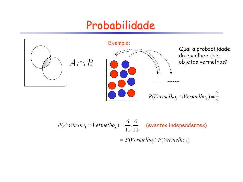 Probabilidade Exemplo: Qual a probabilidade de escolher dois objetos vermelhos? (eventos independentes)