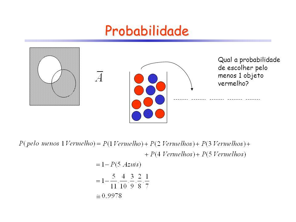 Probabilidade Qual a probabilidade de escolher pelo menos 1 objeto vermelho?