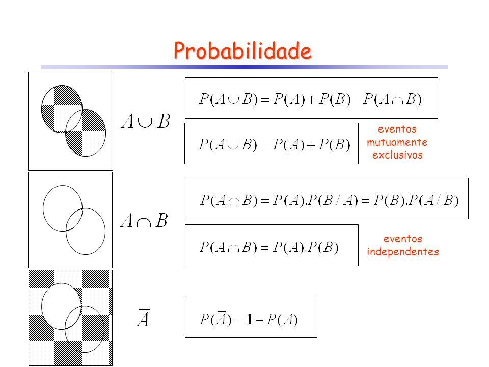 Probabilidade eventos mutuamente exclusivos eventos independentes