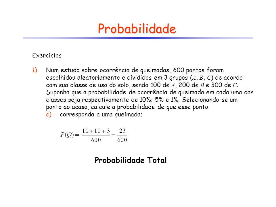 Probabilidade Probabilidade Total Exercícios 1)Num estudo sobre ocorrência de queimadas, 600 pontos foram escolhidos aleatoriamente e divididos em 3 g