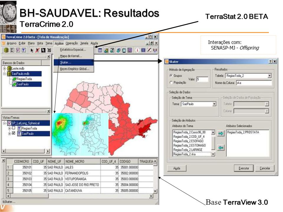 BH-SAUDAVEL: Resultados TerraCrime 2.0 TerraStat 2.0 BETA TerraView 3.0 Base TerraView 3.0 Interações com: SENASP-MJ - Offspring SENASP-MJ - Offspring