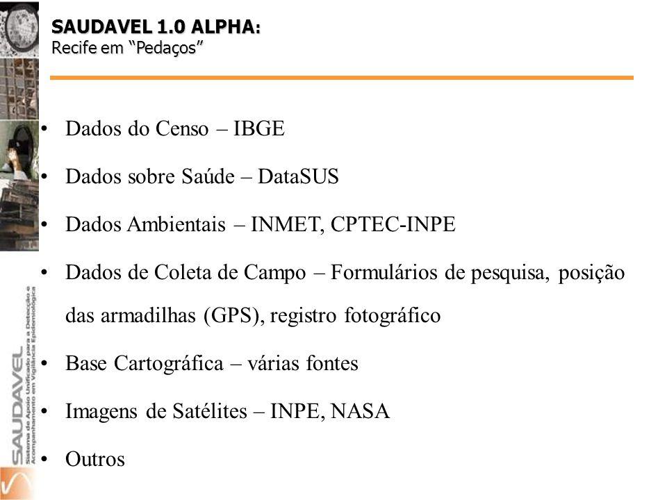 Dados do Censo – IBGE Dados sobre Saúde – DataSUS Dados Ambientais – INMET, CPTEC-INPE Dados de Coleta de Campo – Formulários de pesquisa, posição das armadilhas (GPS), registro fotográfico Base Cartográfica – várias fontes Imagens de Satélites – INPE, NASA Outros SAUDAVEL 1.0 ALPHA : Recife em Pedaços