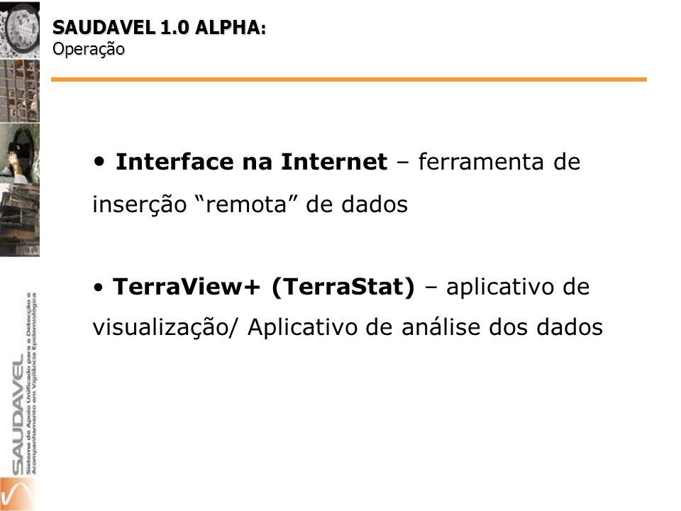 Interface na Internet – ferramenta de inserção remota de dados TerraView+ (TerraStat) – aplicativo de visualização/ Aplicativo de análise dos dados SAUDAVEL 1.0 ALPHA : Operação