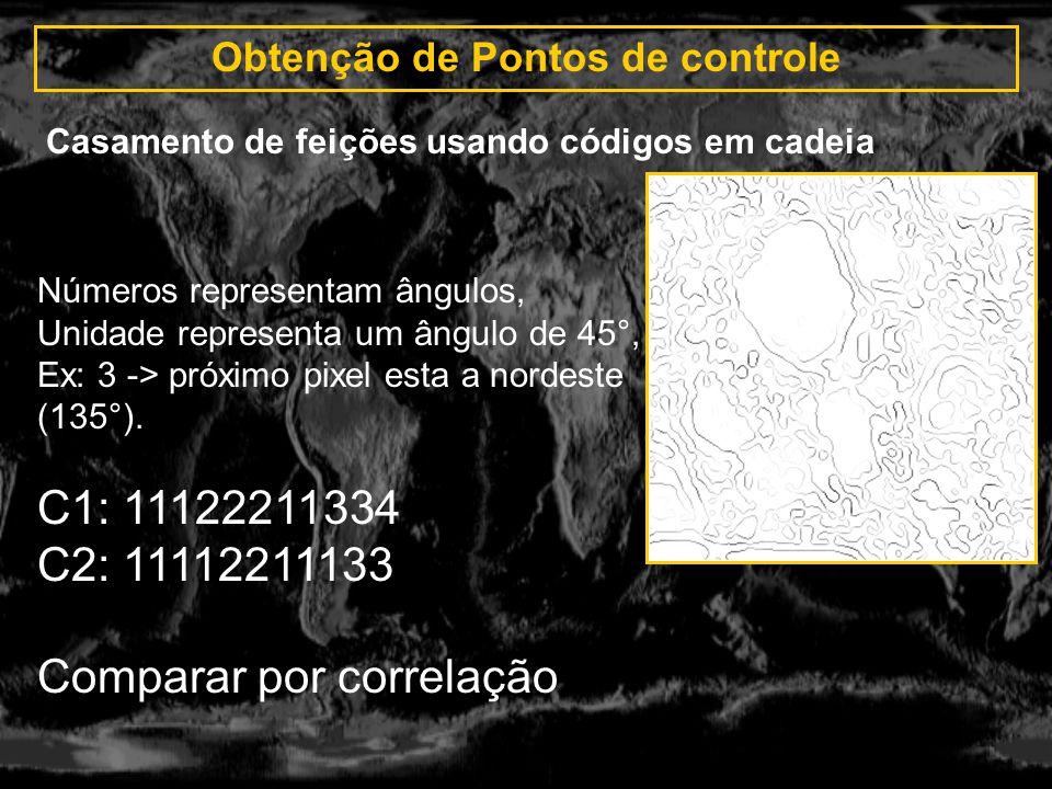 Obtenção de Pontos de controle Casamento de feições usando códigos em cadeia Números representam ângulos, Unidade representa um ângulo de 45°, Ex: 3 -