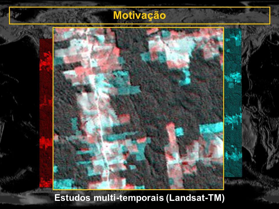 Imagens do LANDSAT 7 PAN - CBERS CCD R: PAN G,B: CCD 4 Registro automático usando retângulos Composição colorida das imagens registradas R-PAN, G-4CCD, B-3CCD