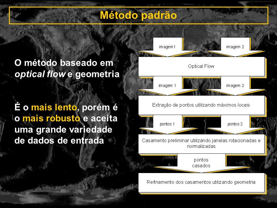 Método padrão O método baseado em optical flow e geometria É o mais lento, porém é o mais robusto e aceita uma grande variedade de dados de entrada
