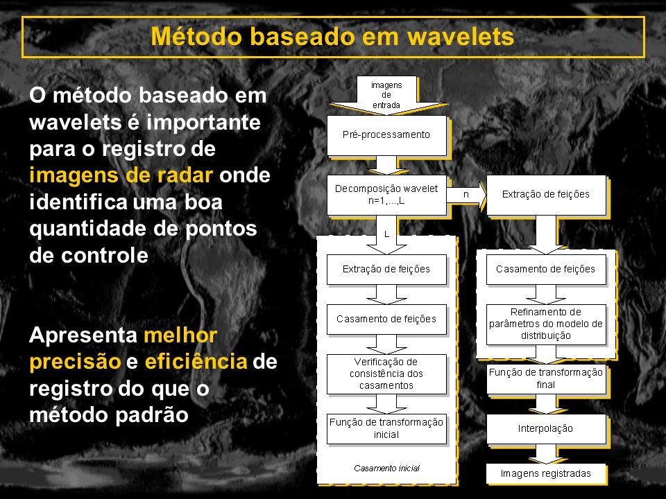 Método baseado em wavelets O método baseado em wavelets é importante para o registro de imagens de radar onde identifica uma boa quantidade de pontos