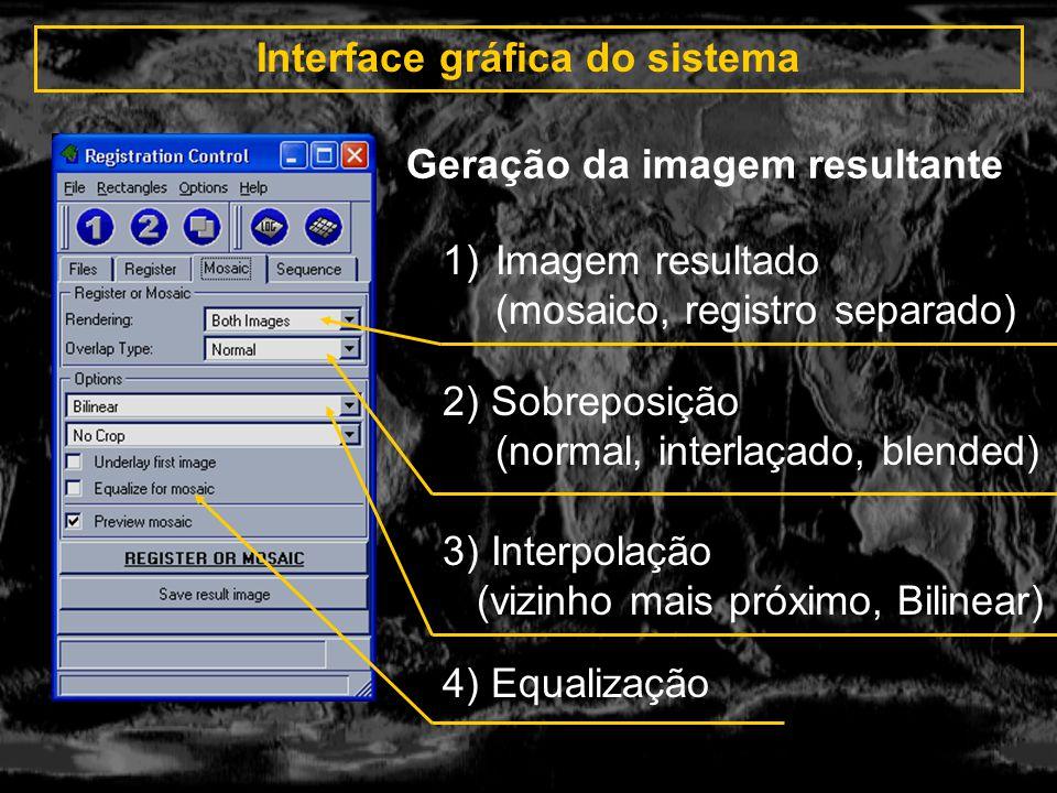 Interface gráfica do sistema 1)Imagem resultado (mosaico, registro separado) 2) Sobreposição (normal, interlaçado, blended) 3) Interpolação (vizinho m