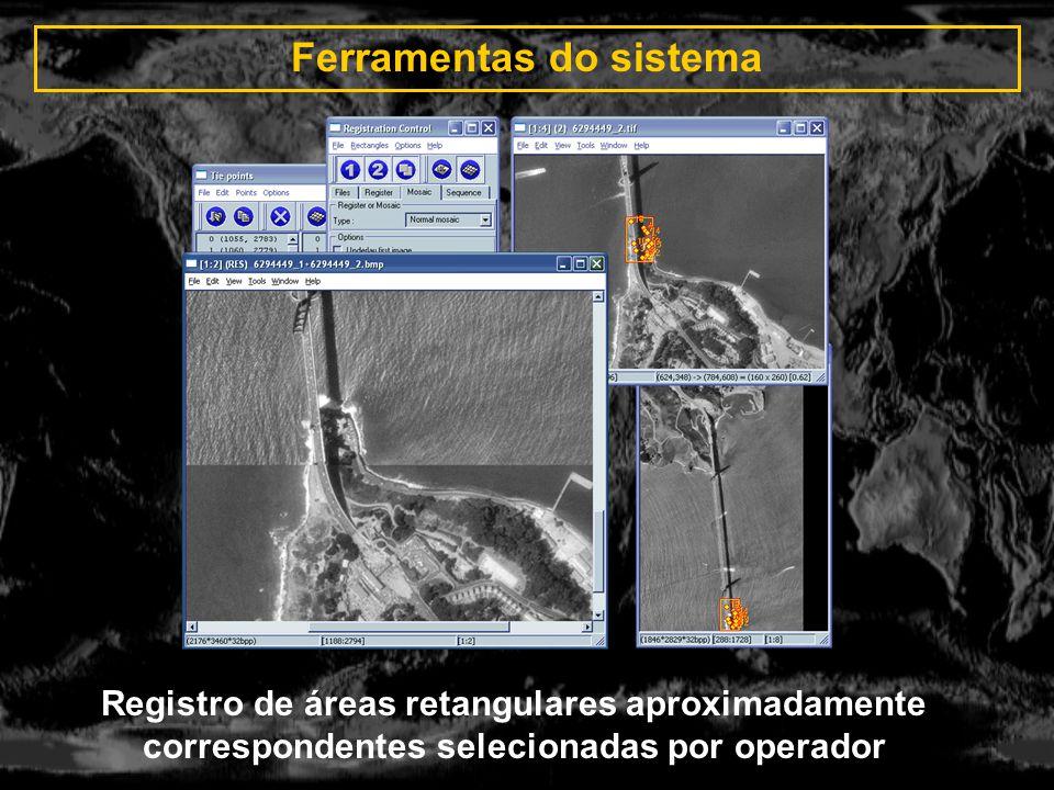 Ferramentas do sistema Registro de áreas retangulares aproximadamente correspondentes selecionadas por operador