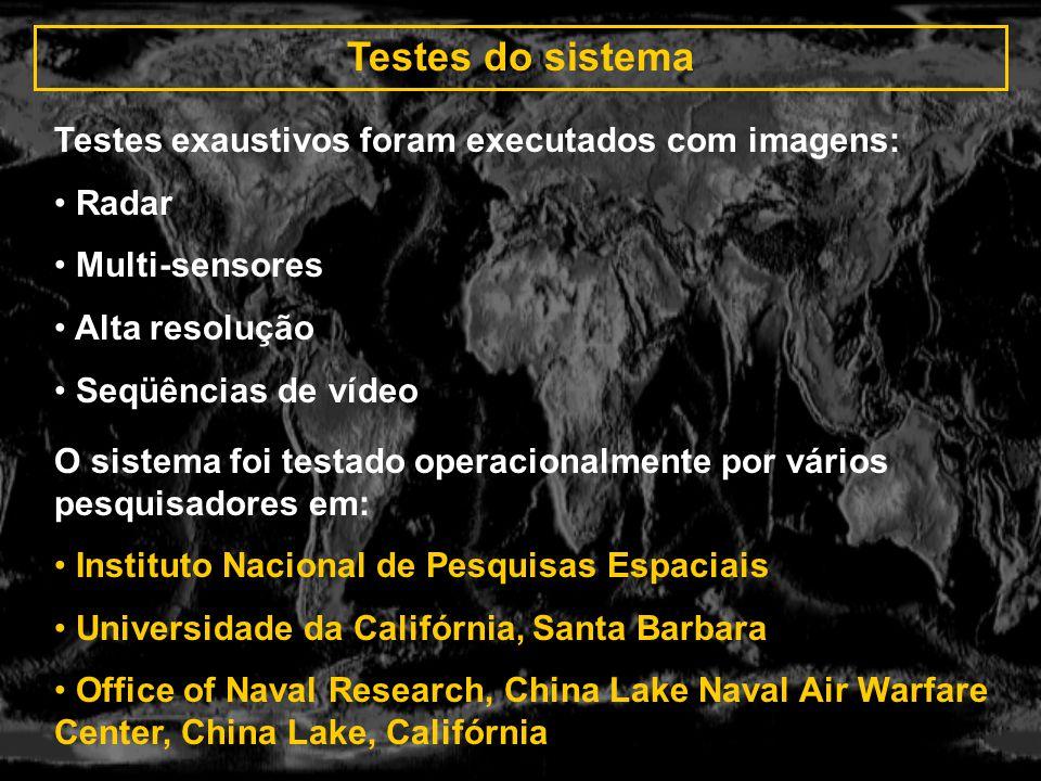 Testes do sistema O sistema foi testado operacionalmente por vários pesquisadores em: Instituto Nacional de Pesquisas Espaciais Universidade da Califó
