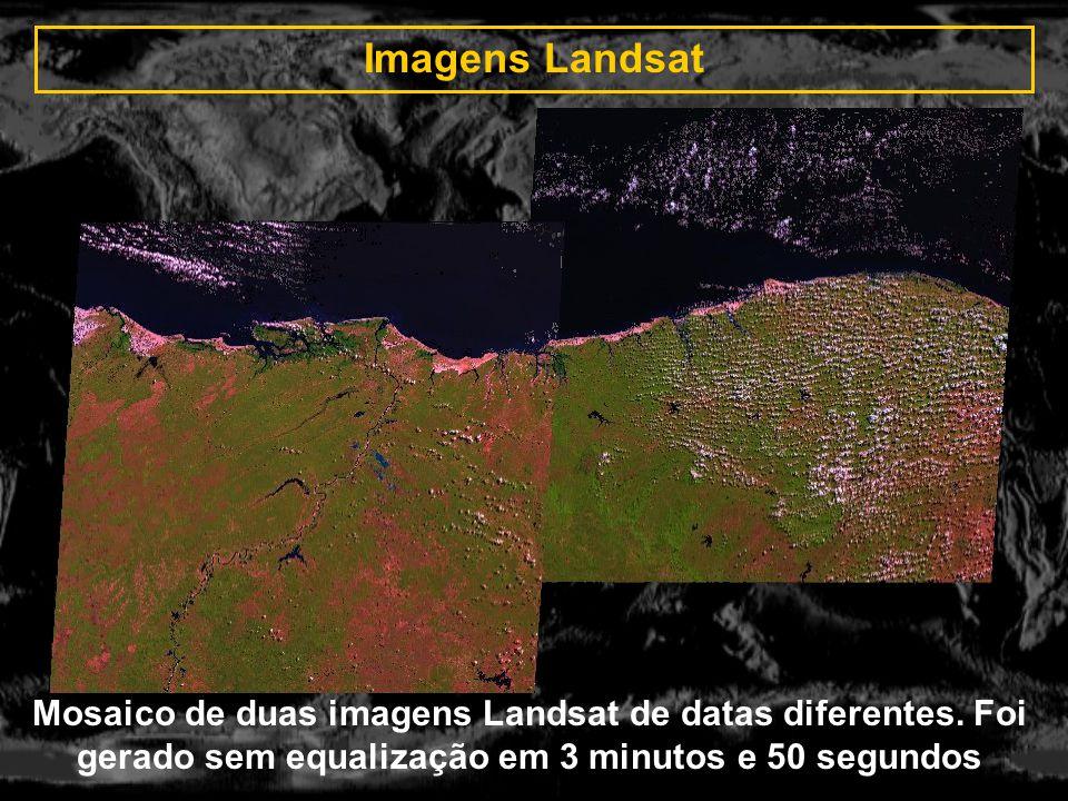 Imagens Landsat Mosaico de duas imagens Landsat de datas diferentes. Foi gerado sem equalização em 3 minutos e 50 segundos