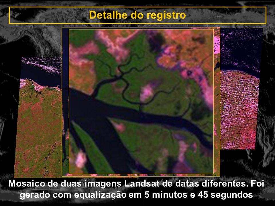 Detalhe do registro Mosaico de duas imagens Landsat de datas diferentes. Foi gerado com equalização em 5 minutos e 45 segundos