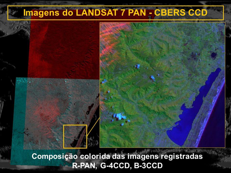 Imagens do LANDSAT 7 PAN - CBERS CCD R: PAN G,B: CCD 4 Registro automático usando retângulos Composição colorida das imagens registradas R-PAN, G-4CCD