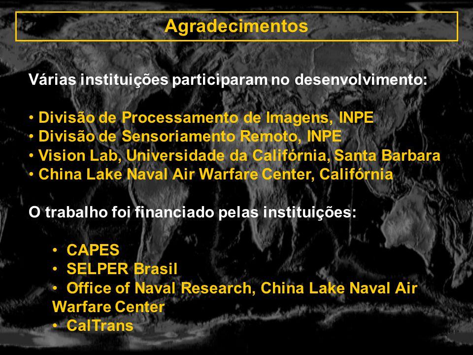 Agradecimentos Várias instituições participaram no desenvolvimento: Divisão de Processamento de Imagens, INPE Divisão de Sensoriamento Remoto, INPE Vi