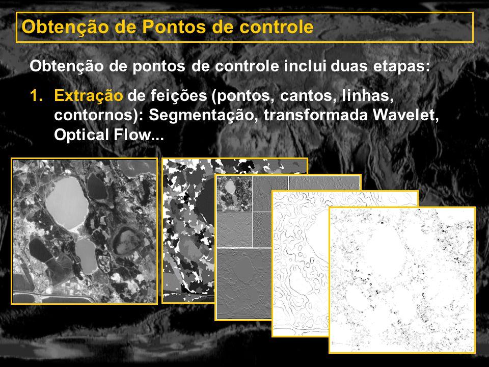 Obtenção de Pontos de controle Obtenção de pontos de controle inclui duas etapas: 1.Extração de feições (pontos, cantos, linhas, contornos): Segmentaç