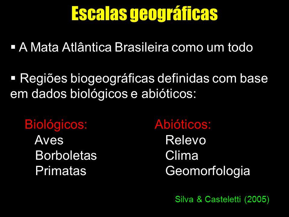 Escalas geográficas A Mata Atlântica Brasileira como um todo Regiões biogeográficas definidas com base em dados biológicos e abióticos: Biológicos: Ab