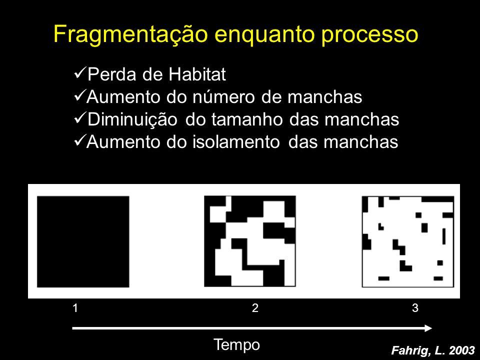 Fragmentação enquanto processo 1 2 3 Tempo Fahrig, L. 2003 Perda de Habitat Aumento do número de manchas Diminuição do tamanho das manchas Aumento do