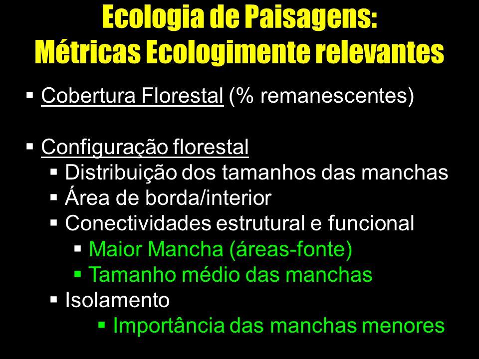 Ecologia de Paisagens: Métricas Ecologimente relevantes Cobertura Florestal (% remanescentes) Configuração florestal Distribuição dos tamanhos das man