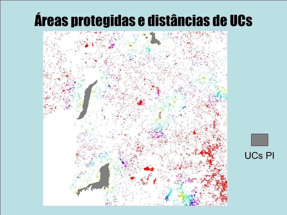 Áreas protegidas e distâncias de UCs UCs PI