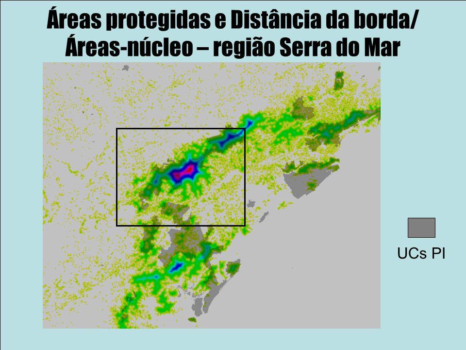Áreas protegidas e Distância da borda/ Áreas-núcleo – região Serra do Mar UCs PI