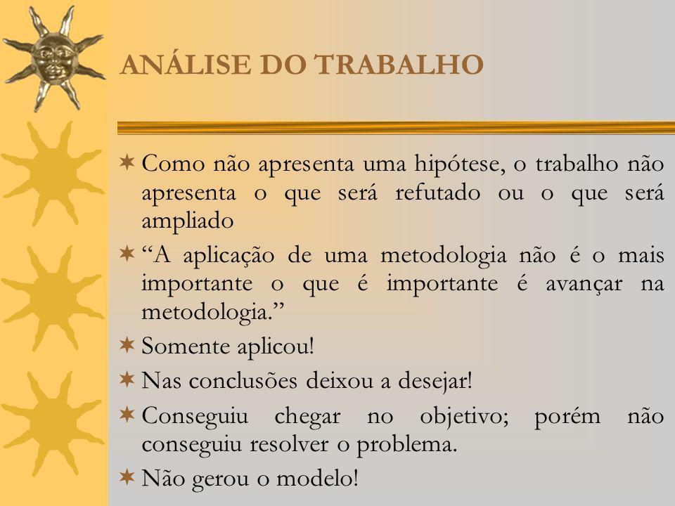 ANÁLISE DO TRABALHO Como não apresenta uma hipótese, o trabalho não apresenta o que será refutado ou o que será ampliado A aplicação de uma metodologi