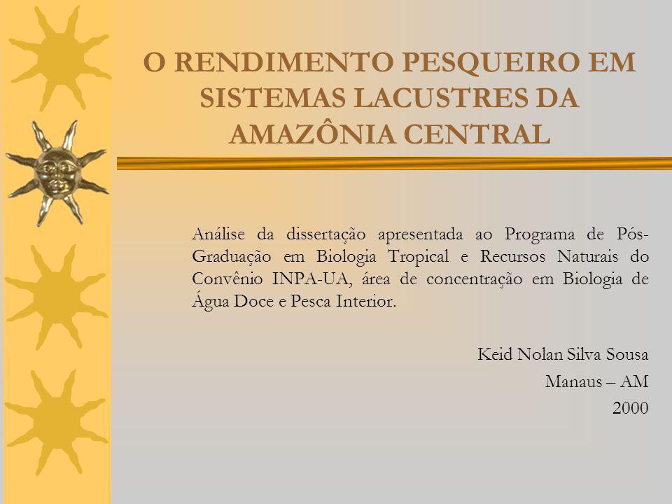O RENDIMENTO PESQUEIRO EM SISTEMAS LACUSTRES DA AMAZÔNIA CENTRAL Análise da dissertação apresentada ao Programa de Pós- Graduação em Biologia Tropical