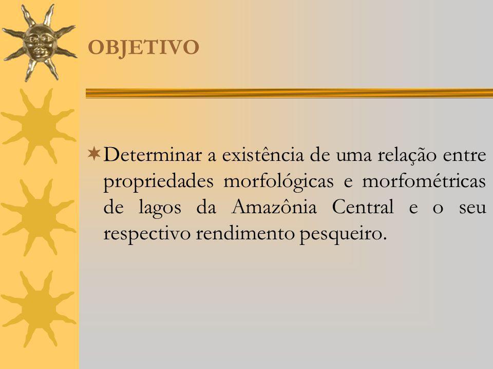 OBJETIVO Determinar a existência de uma relação entre propriedades morfológicas e morfométricas de lagos da Amazônia Central e o seu respectivo rendim