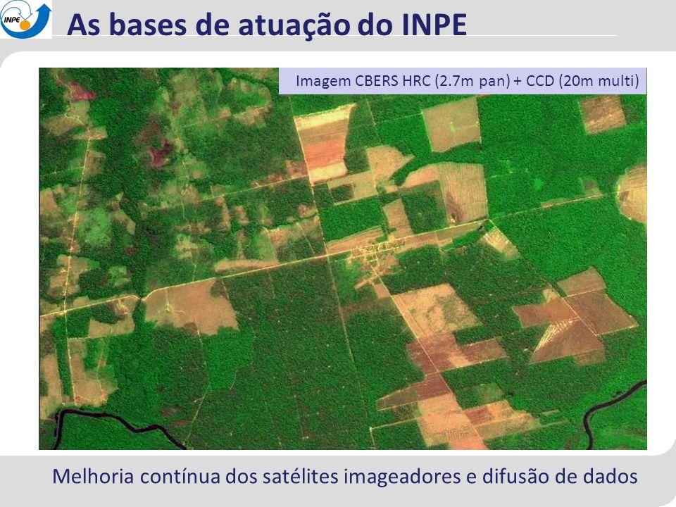 Melhoria contínua dos satélites imageadores e difusão de dados As bases de atuação do INPE Imagem CBERS HRC (2.7m pan) + CCD (20m multi)