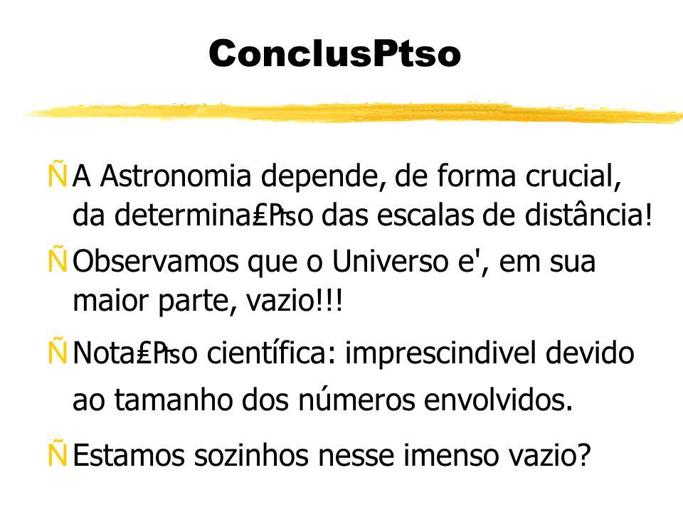 Concluso ÑA Astronomia depende, de forma crucial, da determinao das escalas de distância.