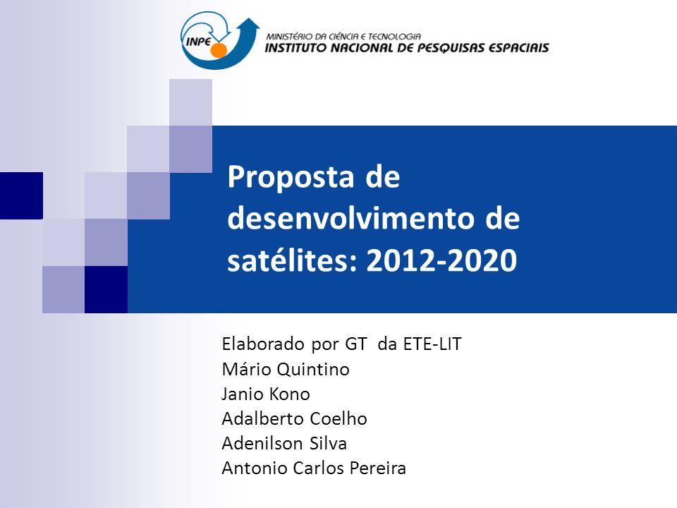 Proposta de desenvolvimento de satélites: 2012-2020 Elaborado por GT da ETE-LIT Mário Quintino Janio Kono Adalberto Coelho Adenilson Silva Antonio Car