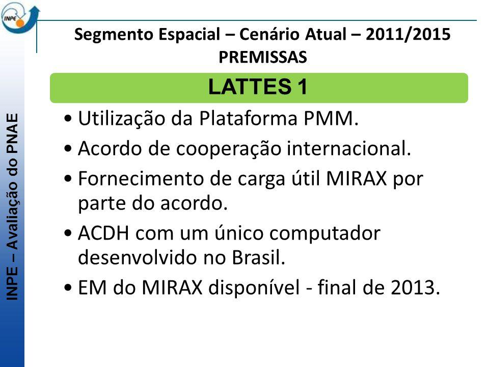 INPE – Avaliação do PNAE Segmento Espacial – Cenário Atual – 2011/2015 PREMISSAS LATTES 1 Utilização da Plataforma PMM. Acordo de cooperação internaci