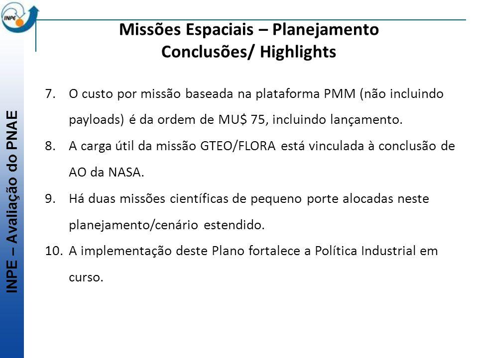 INPE – Avaliação do PNAE Missões Espaciais – Planejamento Conclusões/ Highlights 7.O custo por missão baseada na plataforma PMM (não incluindo payload