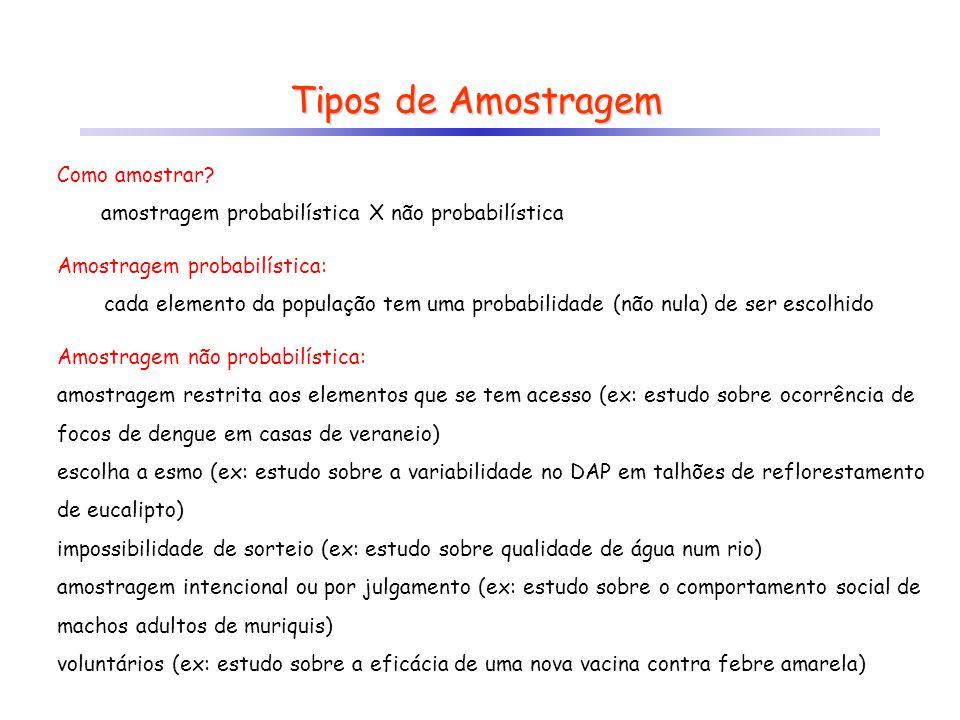 Tipos de Amostragem Amostragem probabilística: cada elemento da população tem uma probabilidade (não nula) de ser escolhido Amostragem não probabilíst