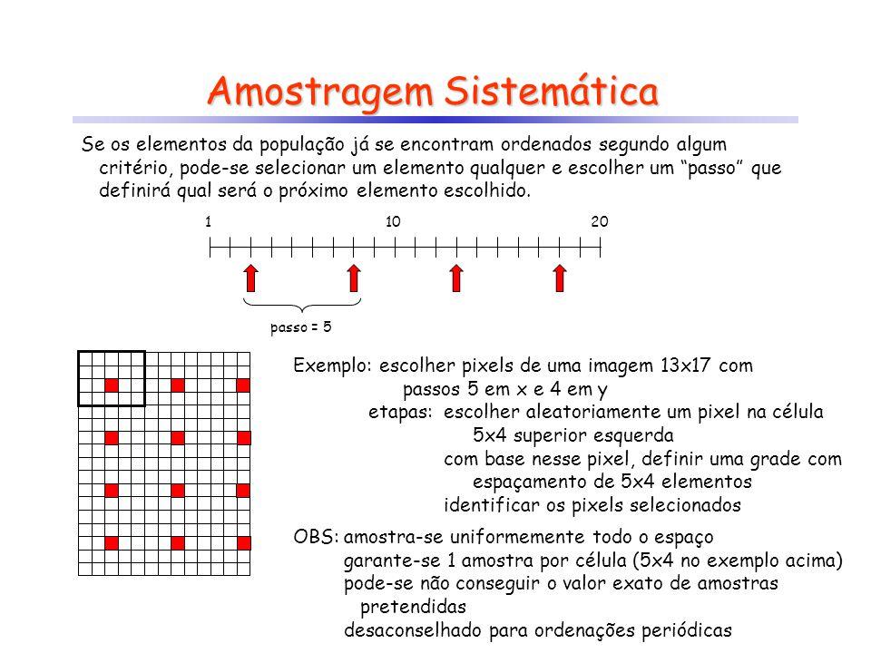 Amostragem Sistemática Se os elementos da população já se encontram ordenados segundo algum critério, pode-se selecionar um elemento qualquer e escolh