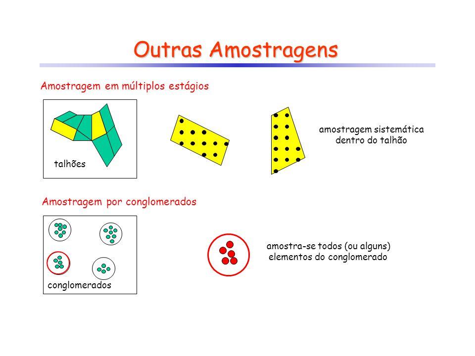 Outras Amostragens Amostragem em múltiplos estágios talhões amostragem sistemática dentro do talhão Amostragem por conglomerados conglomerados amostra